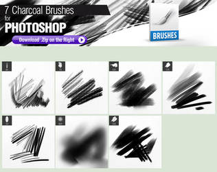 7 Charcoal Brushes for Photoshop by pixelstains