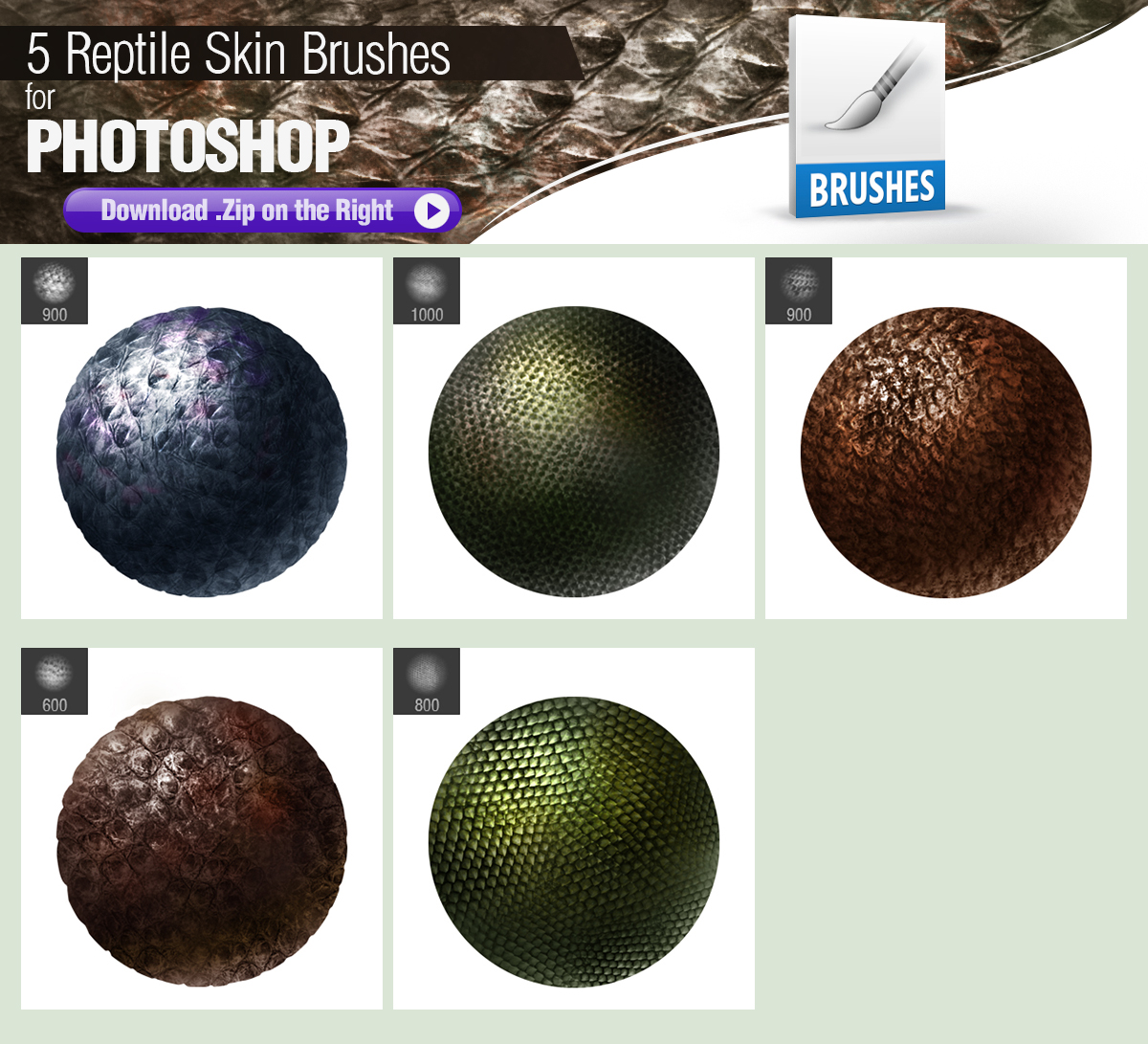 5 Photoshop Brushes for Painting Reptile Skin by pixelstains on ...