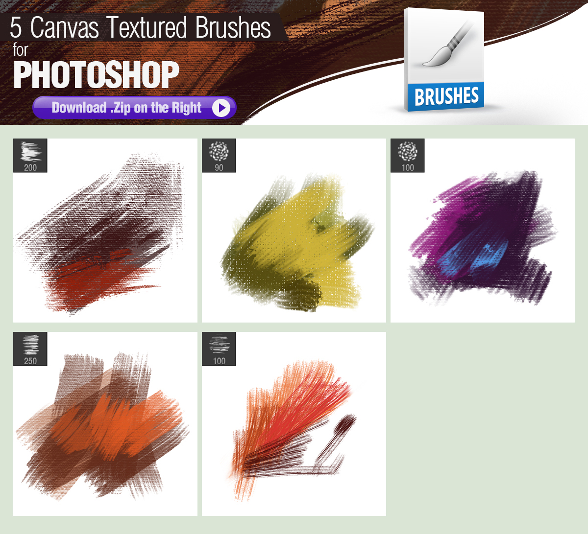 5 Canvas Textured Photoshop Brushes By Pixelstains On