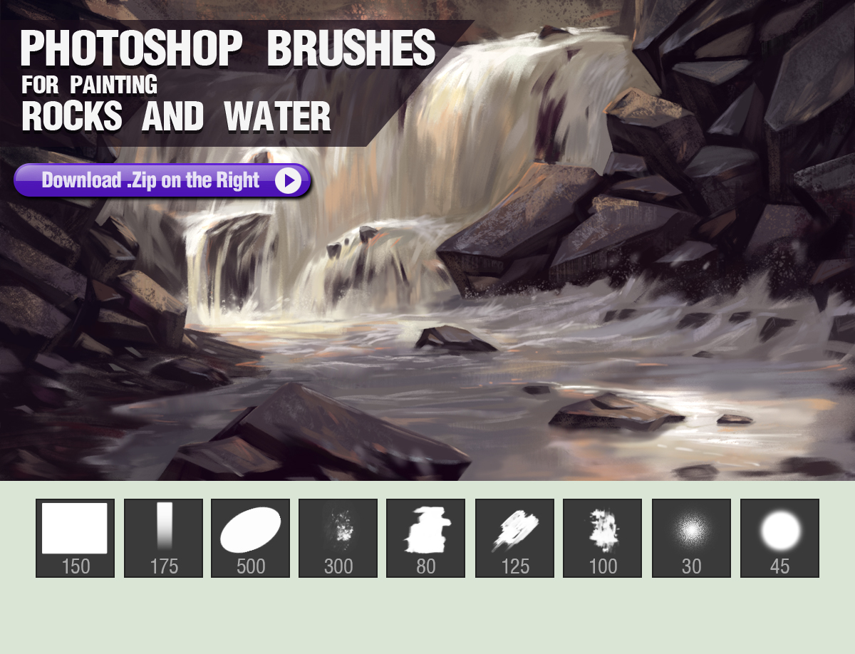Photoshop Brushes for Painting Rocks and Water by pixelstains on ...
