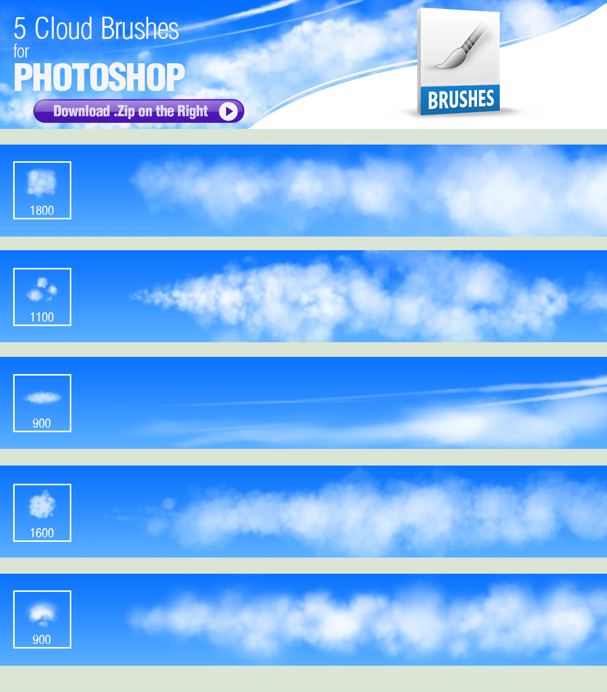 5 photoshop brushes for painting clouds by pixelstains on