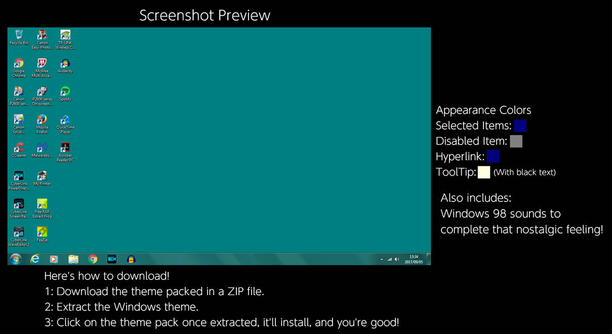 Windows 98 (Blank Teal) Windows Theme by TheWolfBunny on DeviantArt
