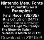 Nintendo Menu Fonts