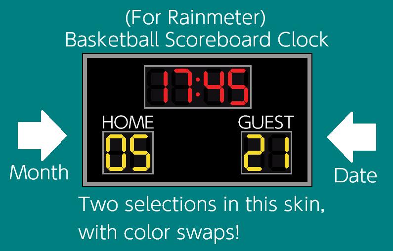 Basketball Scoreboard Clock (For Rainmeter) by TheWolfBunny