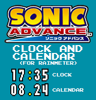 Sonic Advance Clock and Calendar (For Rainmeter) by TheWolfBunny
