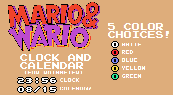 Mario and Wario Clock and Calendar (For Rainmeter) by TheWolfBunny