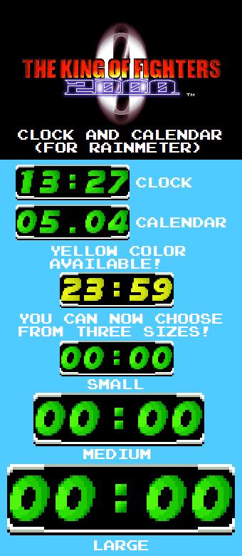 KOF 2000 Clock and Calendar (For Rainmeter)