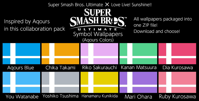 SSBU Symbol Wallpapers (Aqours Colors)