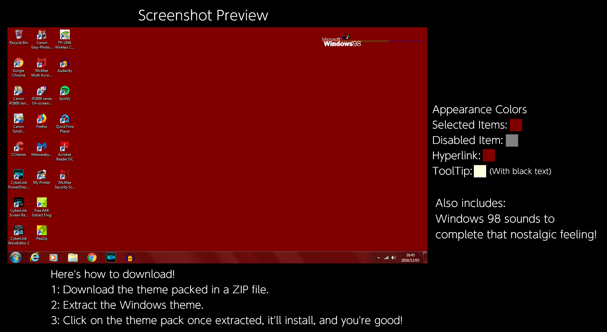 Windows 98 (Classic Red) Windows Theme by TheWolfBunny on DeviantArt