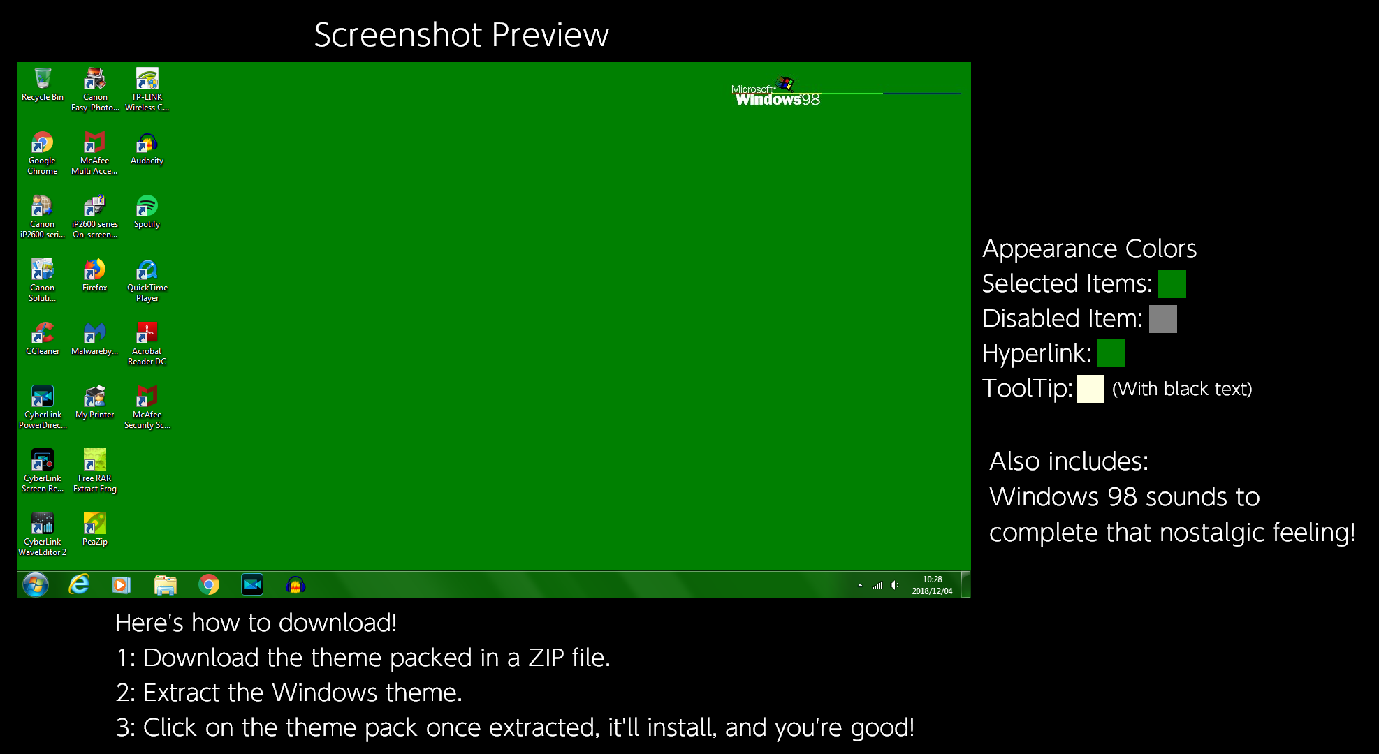Windows 98 (Classic Green) Windows Theme by TheWolfBunny on DeviantArt