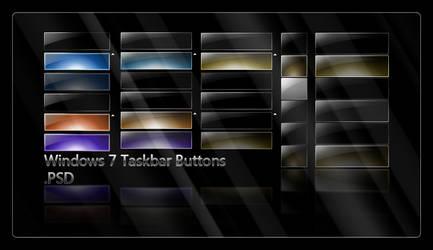 Win7 Taskbar Buttons .PSD by giannisgx89
