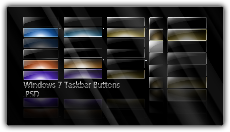 Win7 Taskbar Buttons .PSD by giannisgx89