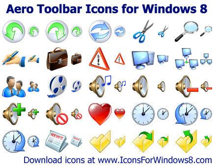 Aero Toolbar Icons for Windows 8 by Iconoman