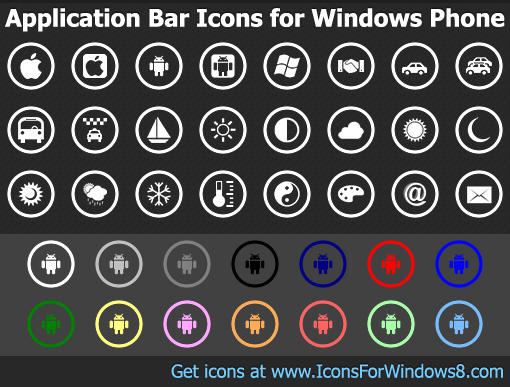 Application Bar Icons for Windows Phone by Iconoman