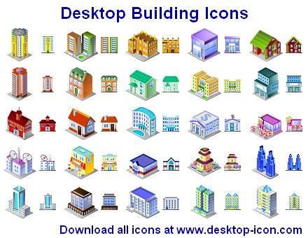 Desktop Building Icons by Iconoman
