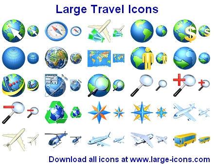 Large Travel Icons by Iconoman