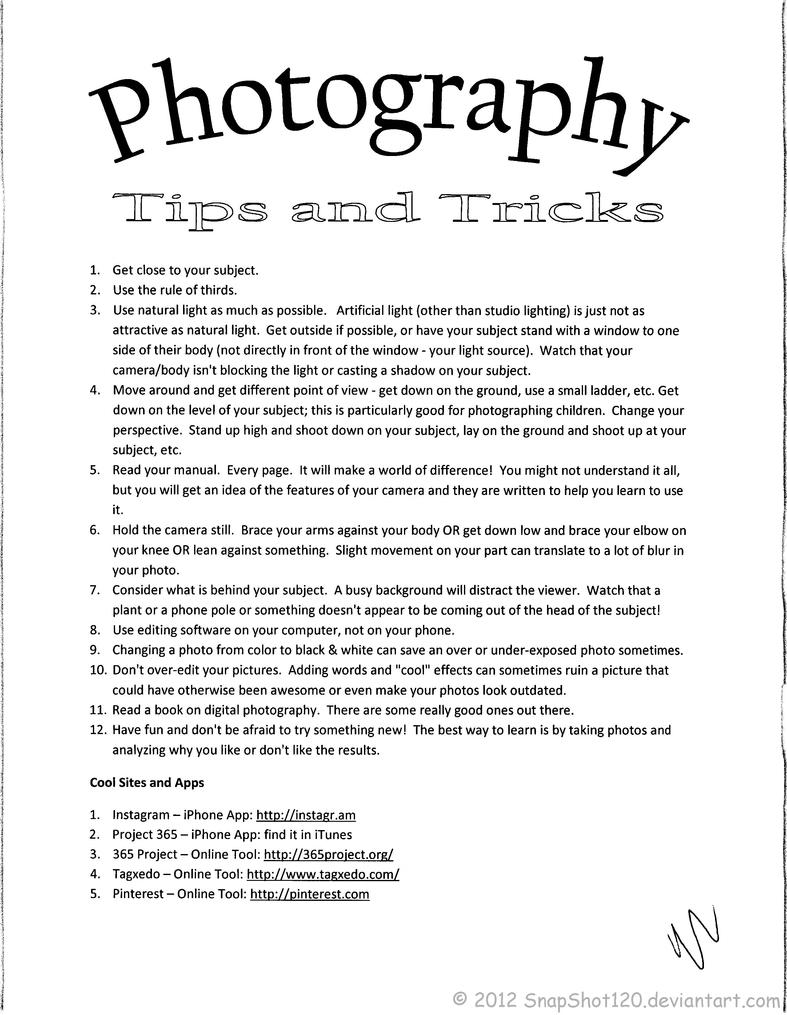 Photography tips pdf