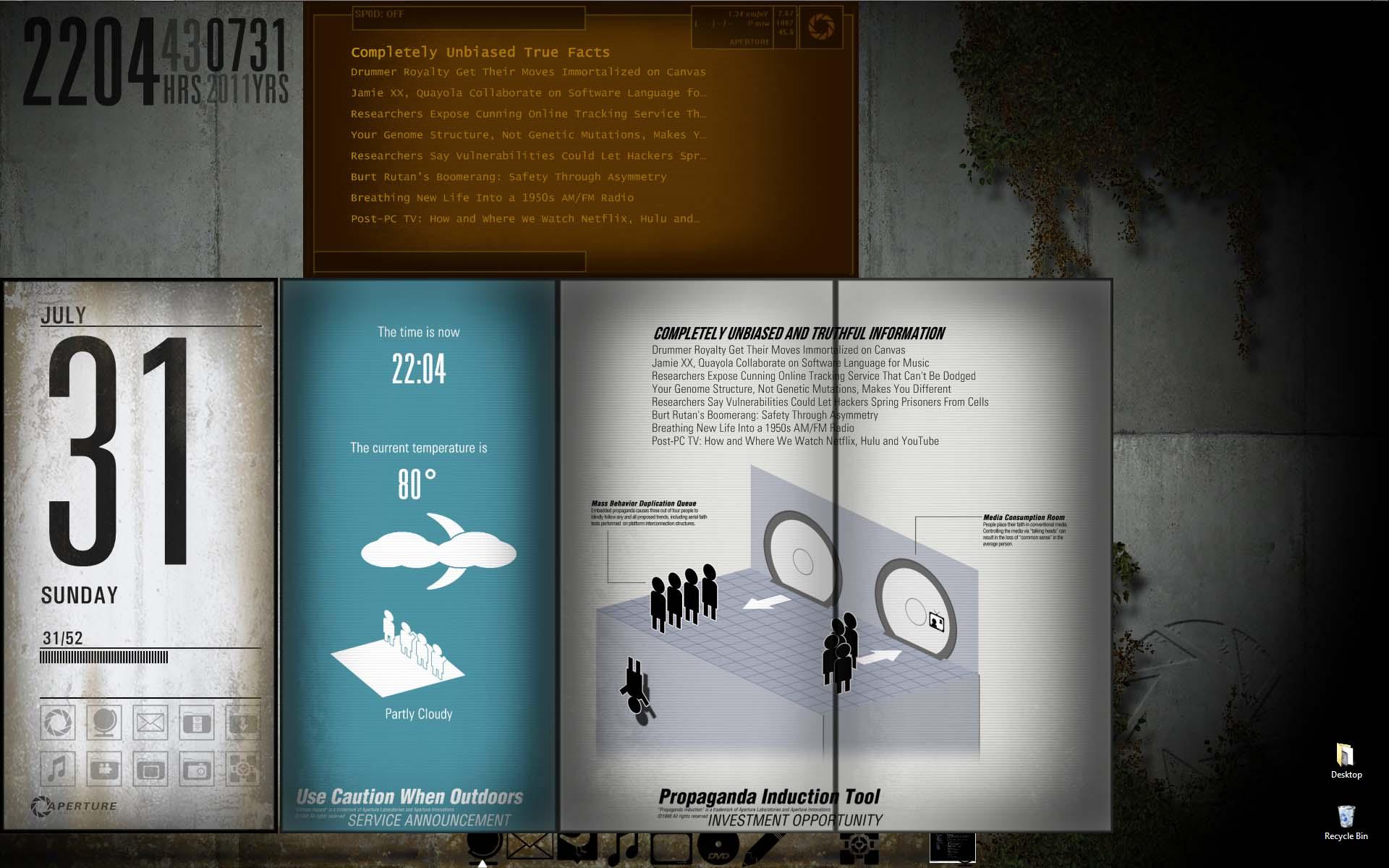 The Portal 2 Desktop Theme for Rainmeter