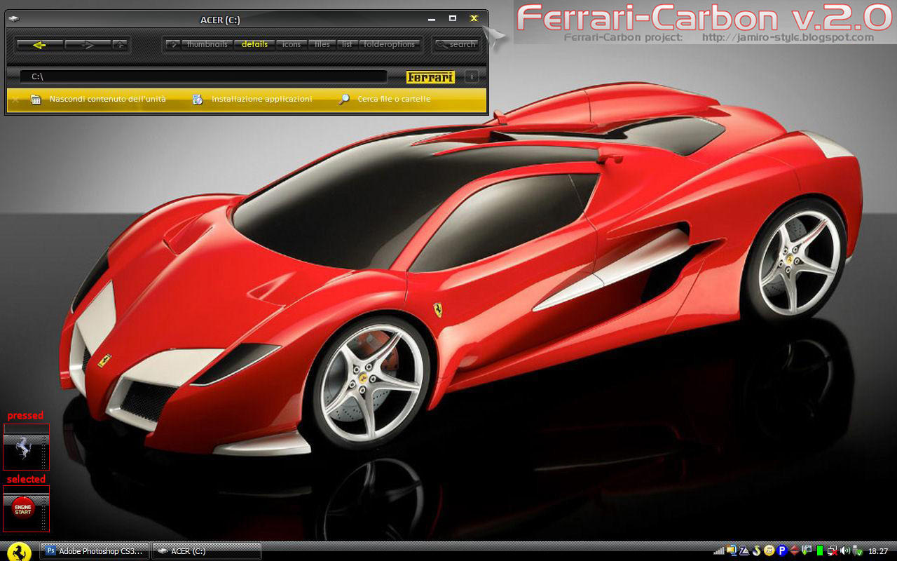 Personaliza tu escritorio mega post!! Ferrari_Carbon_v_2_Theme_WinXP_by_Jamiro_style