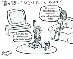 Sara and Tara in Movie Night by Snowy-Dragoness