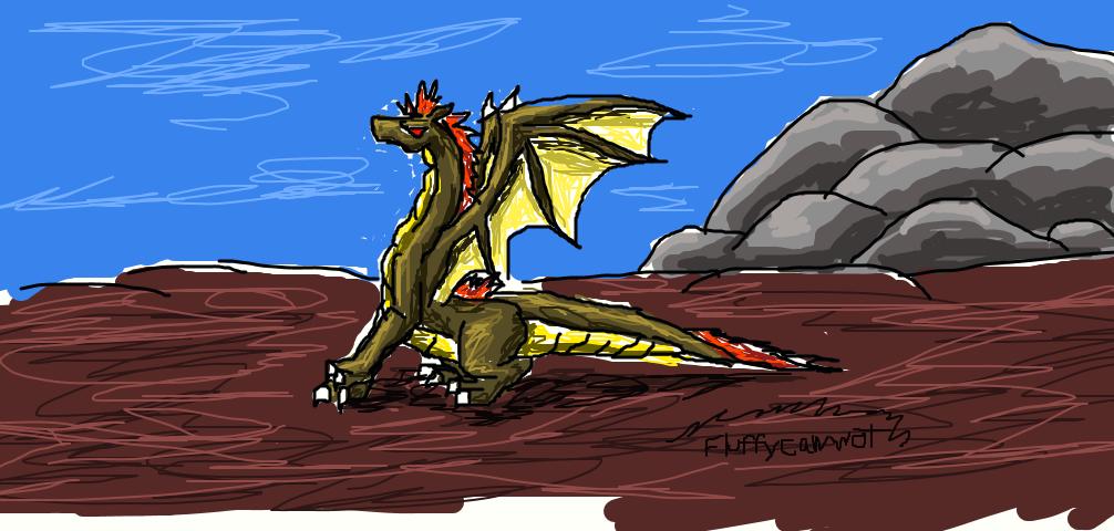 Gold Dragon Sitting by fluffycawwot