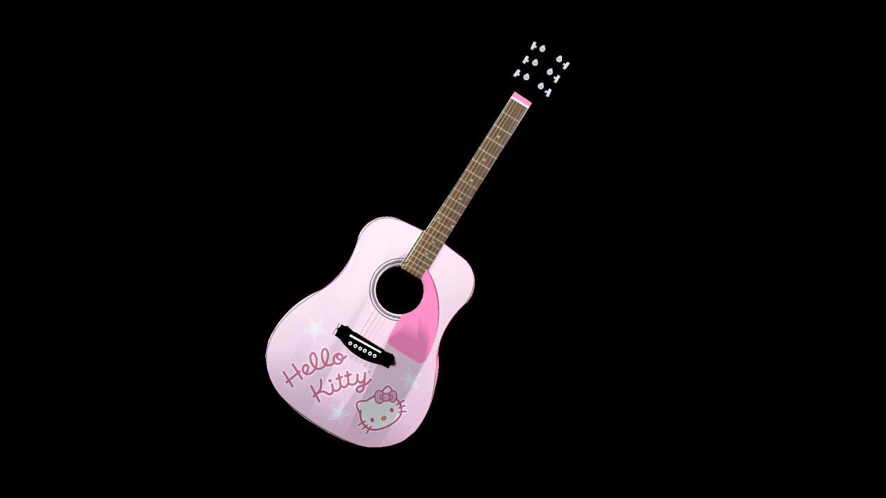 Hello Kitty acoustic guitar by enchantedprey