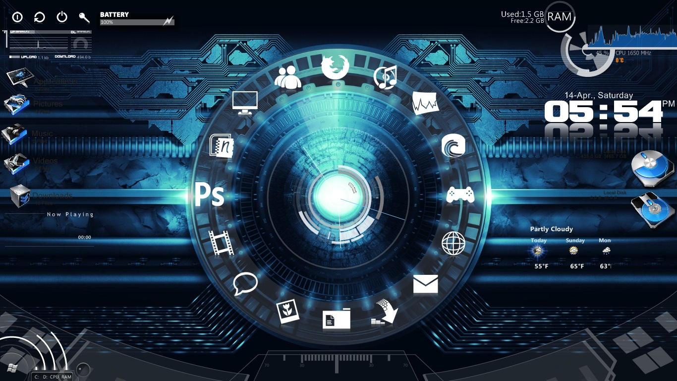 My rainmeter theme by chaseln26 on deviantart for Bureau windows 7 rainmeter