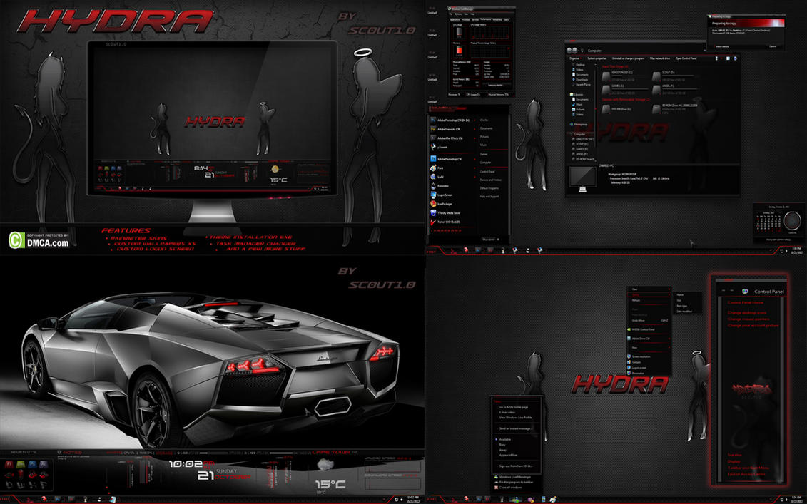 Hydra Dark Glass - Windows 7 theme by Sc0uT10