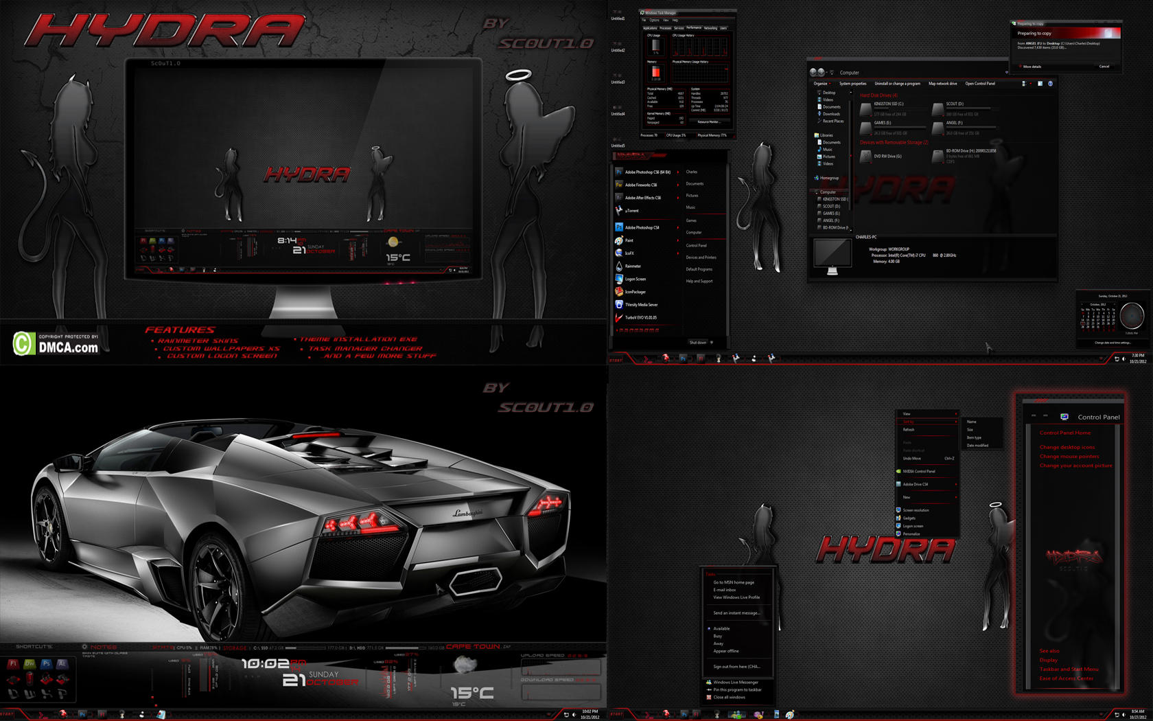 Hydra Dark Glass - Windows 7 theme by Sc0uT10