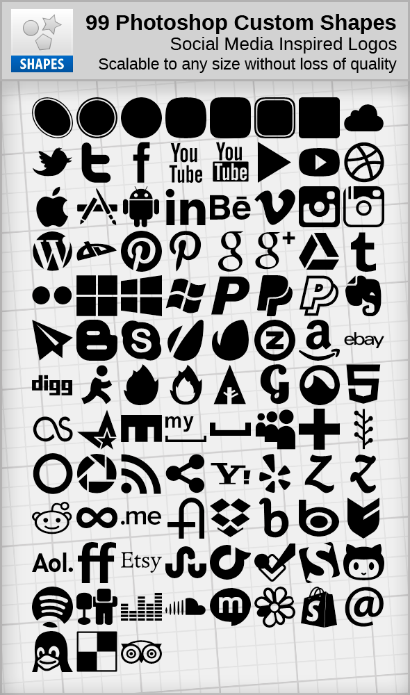 99 Social Media Inspired Shapes By Hassified On Deviantart