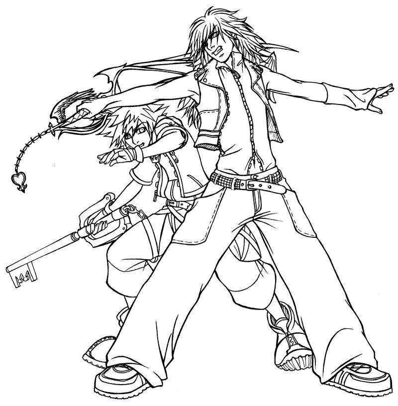 Kingdom Hearts Lineart : Kingdom hearts sora and kairi free coloring pages