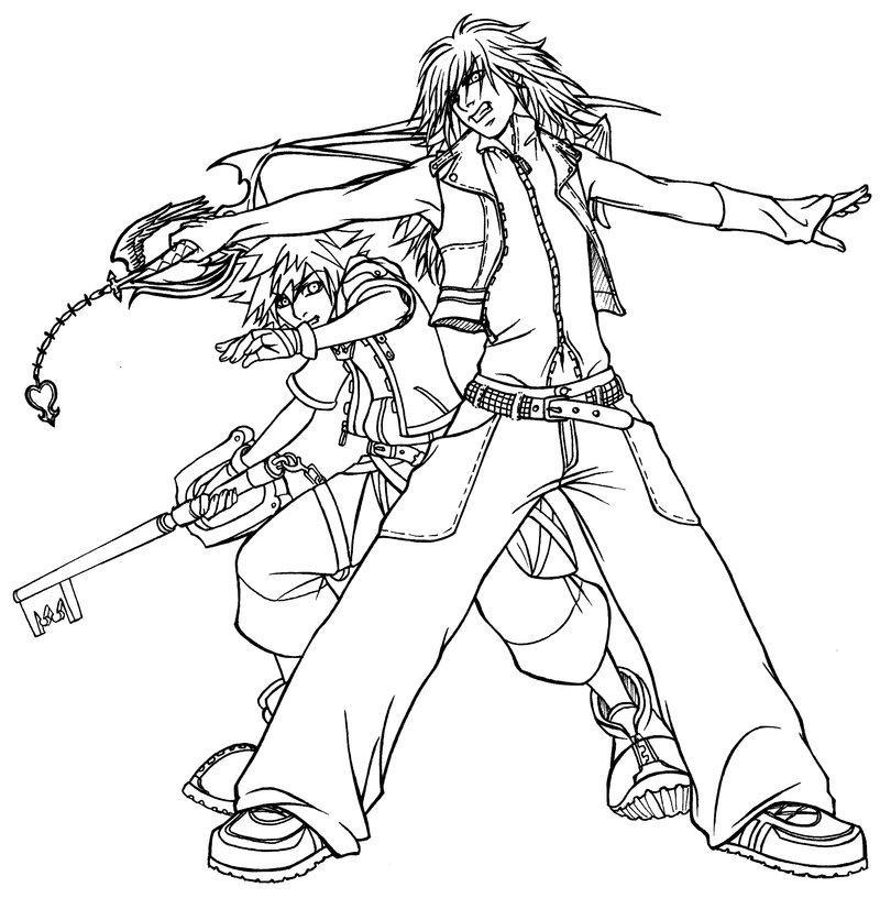 Kingdom Hearts Coloring Pages Kingdom Hearts Trigun By