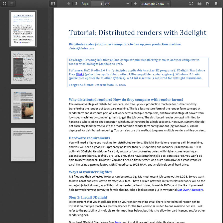 Tutorial: Distributed Rendering with DAZ, 3Delight by deslea on