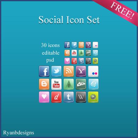 Social Icon Set by ryanbdesigns