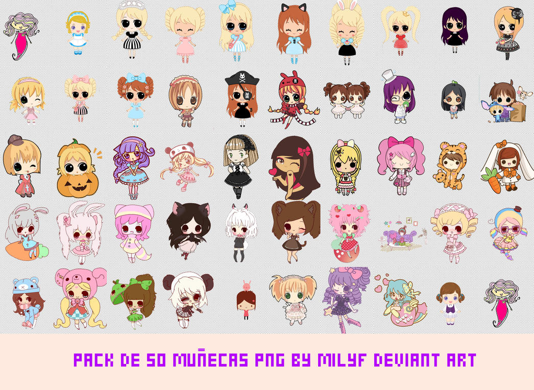 Pack 50 dolls png by milyf