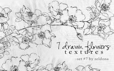 7 drawn flower textures by mellowmint