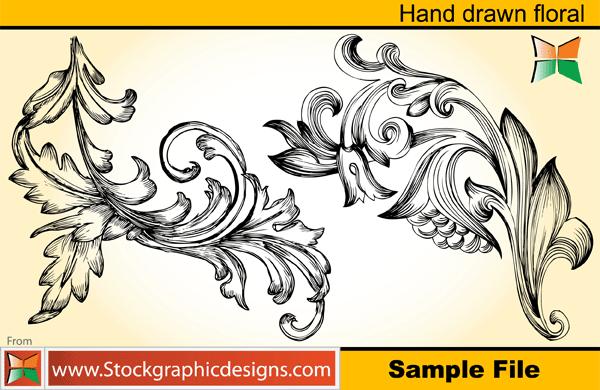 Set-2 Hand Drawn Floral Brush