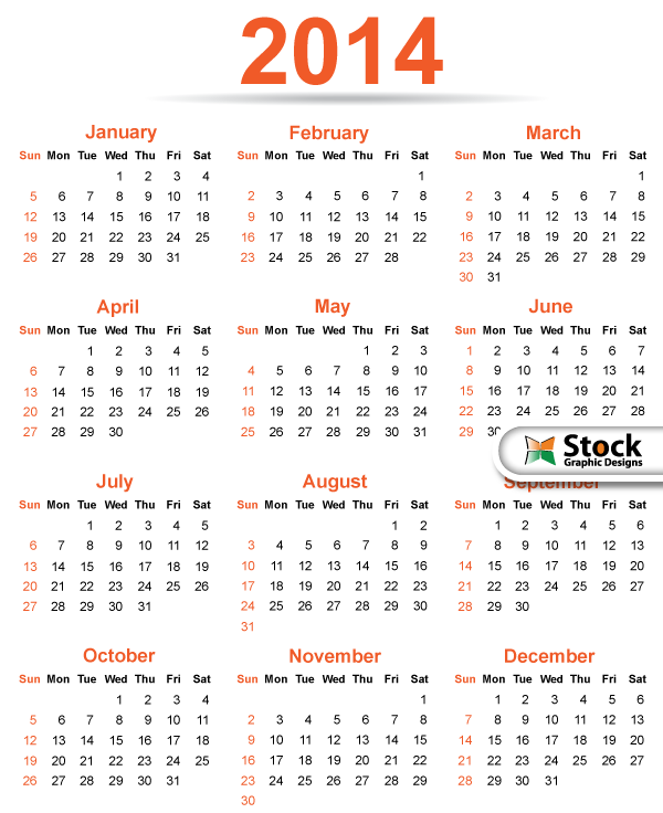 2014 Calendar Template Vector Free by Stockgraphicdesigns on ...