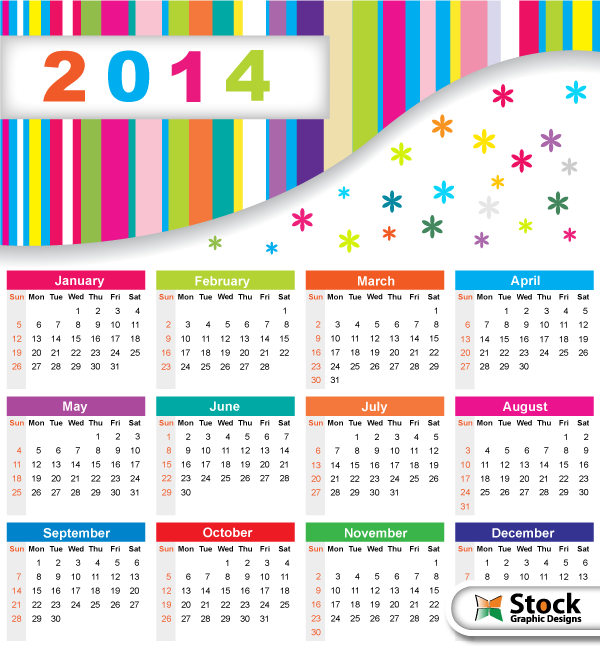 Colorful Calendar 2014 Vector Free By Stockgraphicdesigns On Deviantart
