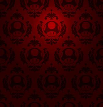 Super Mario Mushroom Damask by CodeNamePlayer