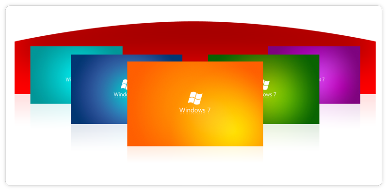 Tapety z logo Windows Seven w kolorach tęczy
