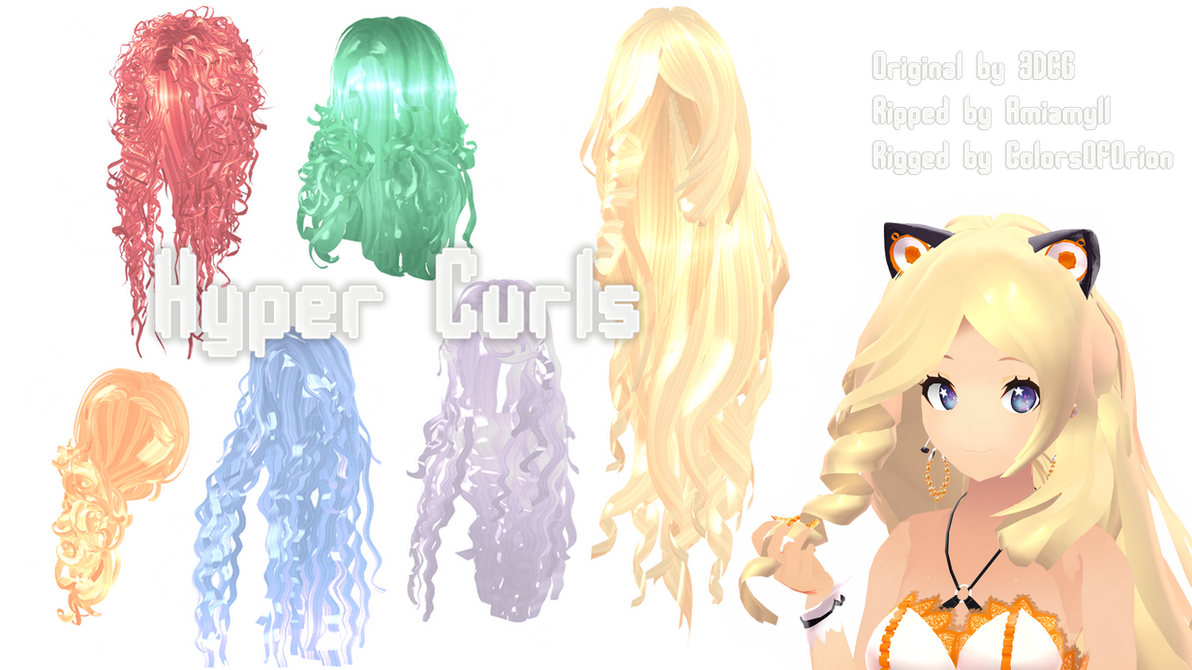 Mmd Parts Hair Hyper Curls By Colorsoforion On