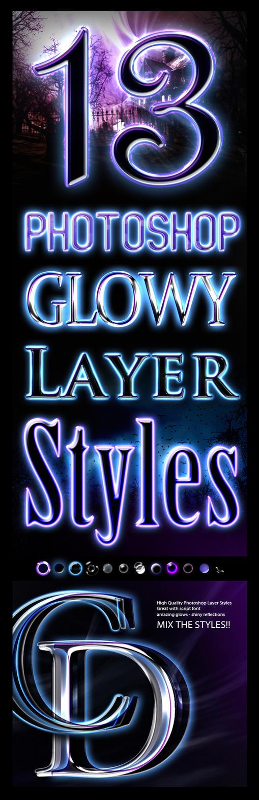 Free Glowy Photoshop Styles by Giallo86