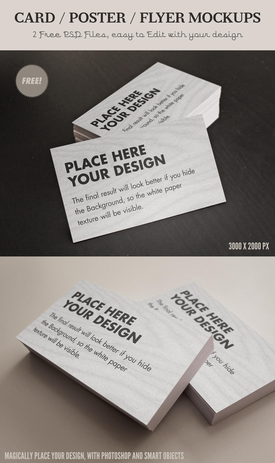 Free Card / Flyer mock-ups - Psd files in high res by Giallo86