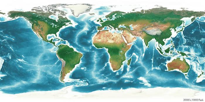Free HD 20k x10K Earth World Map Texture