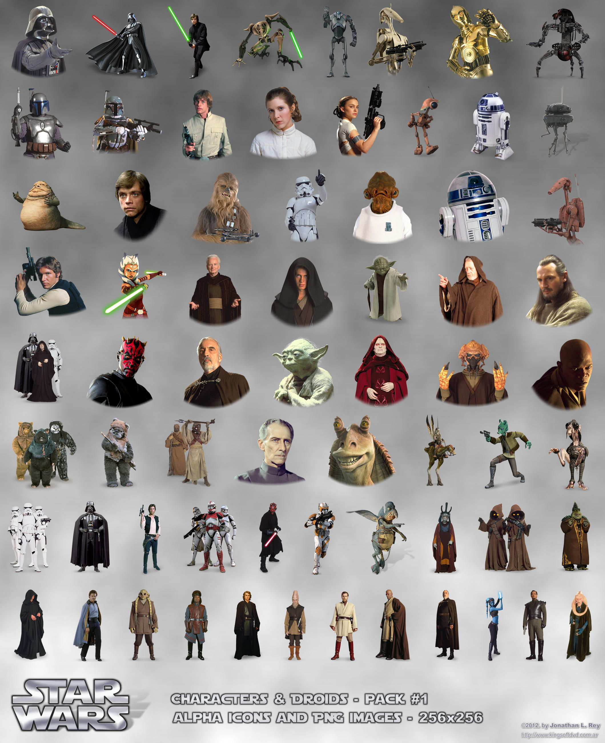 STAR WARS Characters and Droids Alpha Icons PNG by jonathanrey