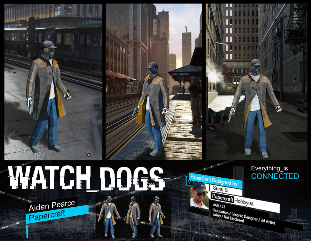 Watch Dogs - Aiden Pearce Papercraft by suraj281191