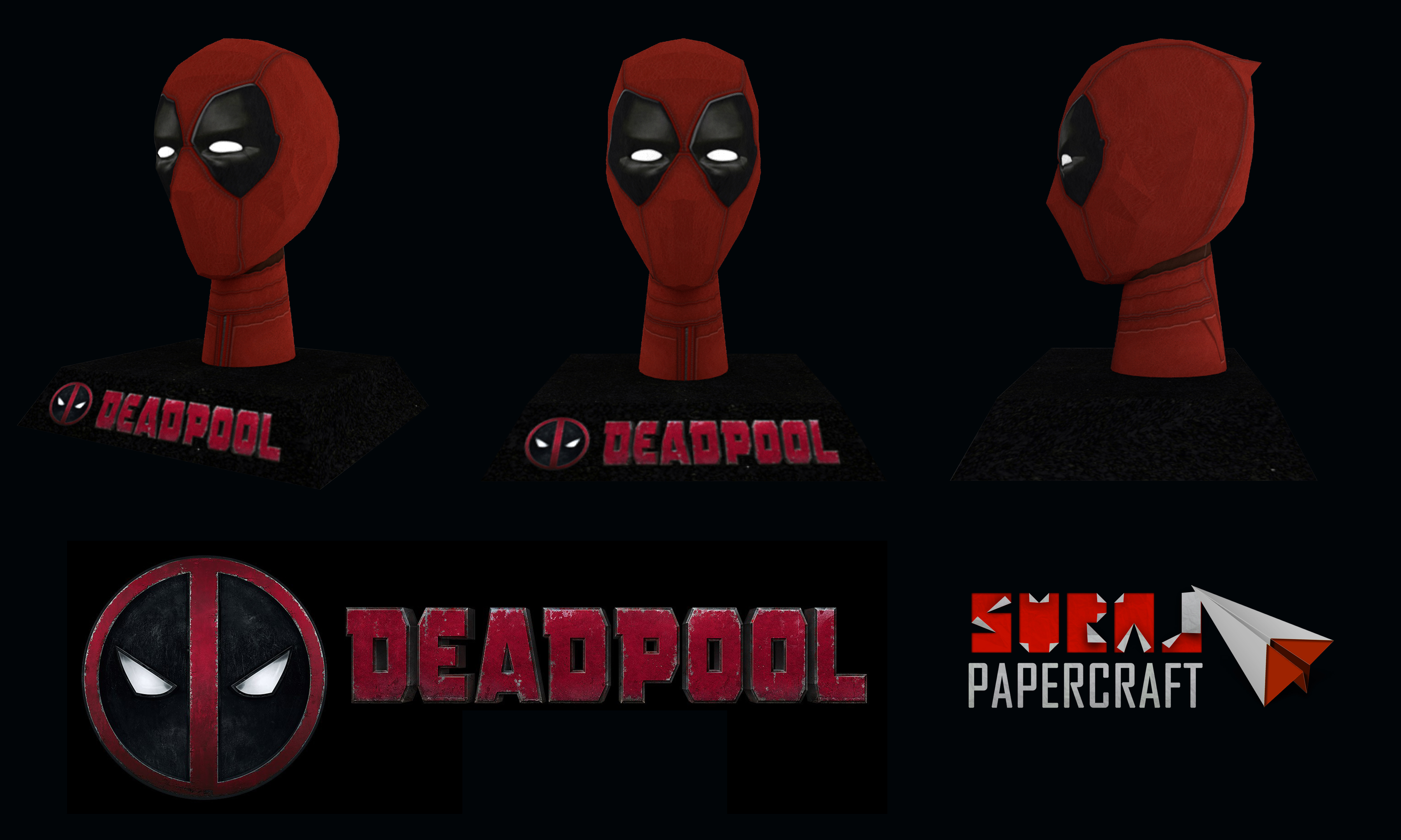Deadpool Movie Papercraft - Head with Stand by suraj281191