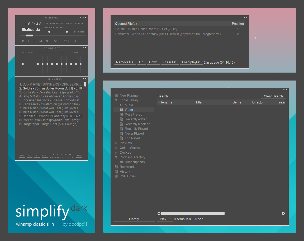 Simplify Dark For Winamp Classic Skin By Dpcdpc11 On Deviantart