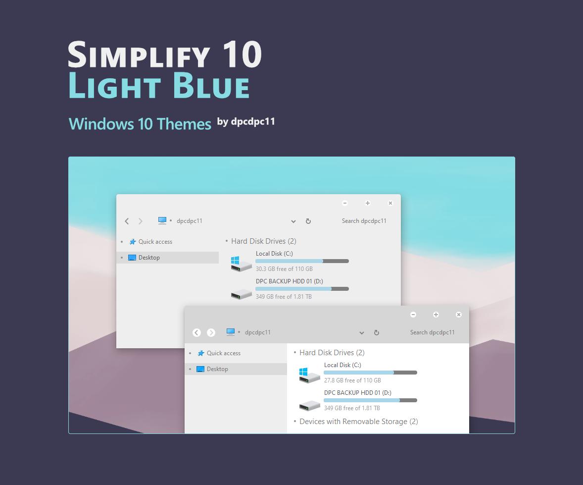 Simplify 10 Light Blue - Windows 10 Themes